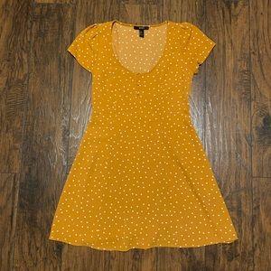 ⭐️ Forever21 Mustard Yellow Polka Dot Dress